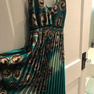 Peacock pleated Maxi dress